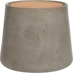Side table concrete Ø 60 cm conical with teak top FSC®-certified