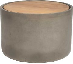 Side table concrete Ø 45 cm cylindrical with teak top FSC®-certified