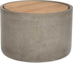 Side table concrete Ø 60 cm cylindrical with teak top FSC®-certified