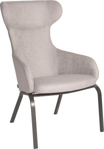 Wing chair Stan aluminium anthracite with cover outdoor fabric light grey & silk grey mixed