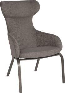 Wing chair Stan aluminium anthracite with cover outdoor fabric dark grey & slate grey mixed