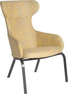 Wing chair Stan aluminium anthracite with cover outdoor fabric yellow & silk grey mixed