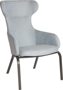 Wing chair Stan aluminium anthracite with cover outdoor fabric light blue & silk grey mixed