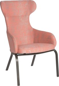 Wing chair Stan aluminium anthracite with cover outdoor fabric coral & silk grey mixed