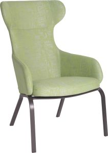 Wing chair Stan aluminium anthracite with cover outdoor fabric fern green & silk grey mixed