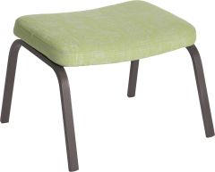 Foot stool Stan aluminium anthracite with cover outdoor fabric fern green & silk grey mixed