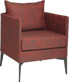 Armchair Marta aluminium cover and cushions outdoor fabric red & slate grey mixed