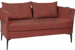 Sofa 2-seater Marta aluminium cover and cushions outdoor fabric red & slate grey mixed