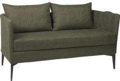 Sofa 2-seater Marta aluminium cover and cushions outdoor fabric dark green & slate grey mixed
