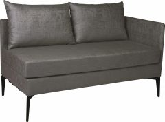Element 2-seater Marta aluminum armrest left cover outdoor fabric dark grey & slate grey mixed
