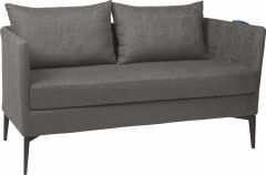 Bench 2-seater Marta aluminum cover and cushion outdoor fabric dark grey & slate grey mixed