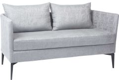 Bench 2-seater Marta aluminum cover and cushion outdoor fabric light grey & silk grey mixed