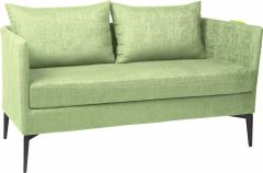 Bench 2-seater Marta aluminum cover and cushion outdoor fabric fern green & silk grey mixed