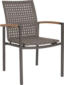 Stacking armchair Lucy aluminium anthracite with straps platinum & teak armrests