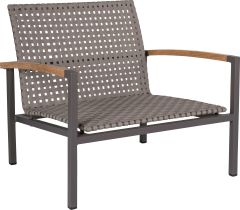 Lounge armchair Lucy aluminium anthracite with belt platin & teak armrests