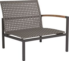 Lounge side element Lucy aluminium anthracite with belt platinum & teak armrests right