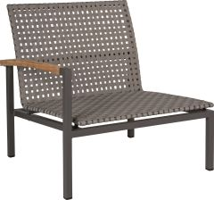 Lounge side element Lucy aluminium anthracite with belt platinum & teak armrests left