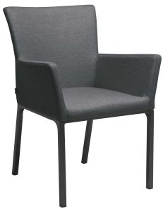 Dining armchair Artus aluminum anthracite with outdoor fabric crystal anthracite