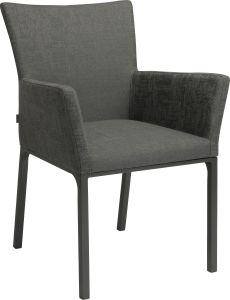 Dining armchair Artus aluminum anthracite with outdoor fabric dark grey & slate grey mixed