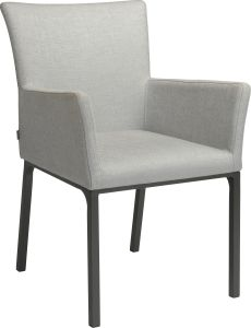 Dining armchair Artus aluminum anthracite with outdoor fabric light grey & silk grey mixed