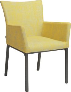 Dining armchair Artus aluminum anthracite with outdoor fabric yellow & silk grey mixed