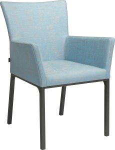 Dining armchair Artus aluminum anthracite with outdoor fabric light blue & silk grey mixed