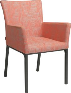 Dining armchair Artus aluminum anthracite with outdoor fabric coral & silk grey mixed