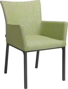 Dining armchair Artus aluminum anthracite with outdoor fabric fern green & silk grey mixed