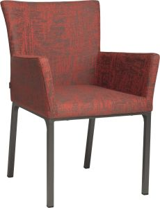 Dining armchair Artus aluminium anthracite with outdoor fabric red & slate grey mixed