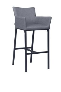 Bar armchair Artus aluminum anthracite with outdoor fabric crystal anthracite