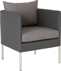 Armchair Miguel aluminum cover anthracite with cushion Dessin silk grey