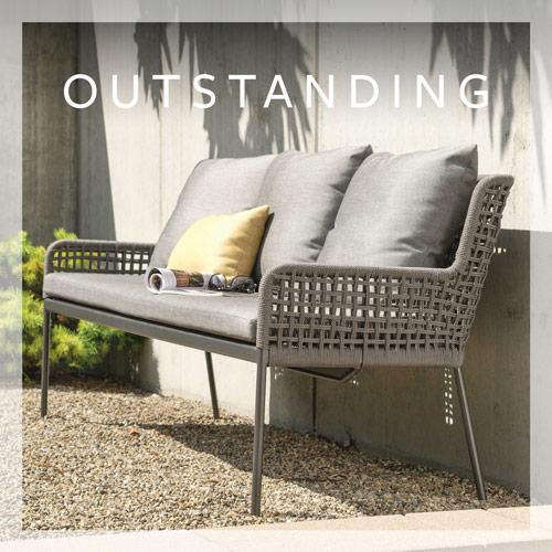 Swing 2 seater Greta aluminium anthracite with rope platinum & cushions silk grey
