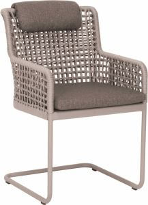 Cantilever Greta aluminum champagne with rope ecru & cushion Dessin fawn brown