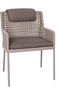 Dining armchair Greta aluminum champagne with rope ecru & cushion Dessin fawn brown
