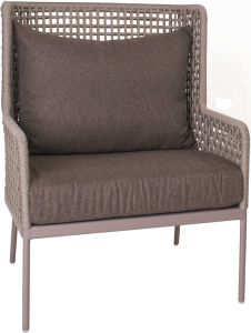 Lounge armchair Greta aluminum champagne with rope ecru & cushion Dessin fawn brown
