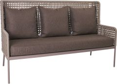 Lounge sofa Greta aluminum champagne with rope  ecru & cushion Dessin fawn brown