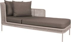 Sunlounger Greta aluminum champagne with rope ecru & cushion Dessin fawn brown