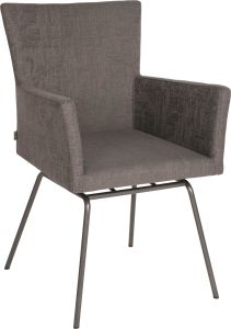 Armchair Artus VIP frame stainless steel anthracite with outdoor fabric dark grey & slate grey mixed