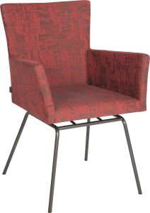 Armchair Artus VIP frame stainless steel anthracite with outdoor fabric red & slate grey mixed