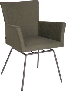 Armchair Artus VIP frame stainless steel anthracite with outdoor fabric dark green & slate grey mixed