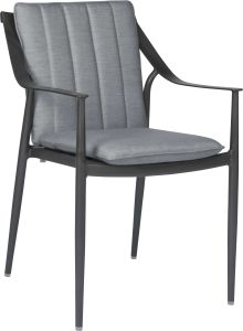Dining armchair Vanda aluminum anthracite with cushion Dessin silk grey