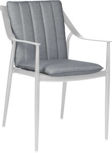 Dining armchair Vanda aluminum white with cushion Dessin silk grey
