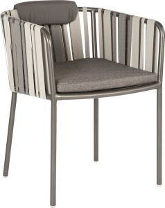 Dining armchair Space aluminum anthracite textilen  grey 2-color with cushion Dessin silk grey