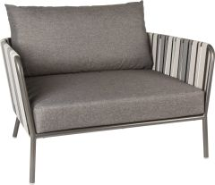 Lounge armchair Space aluminum anthracite textilen grey 2-color with cushion Dessin silk grey