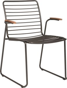 Stacking armchair Levi stainless steel anthracite with teak armrests FSC®-certified