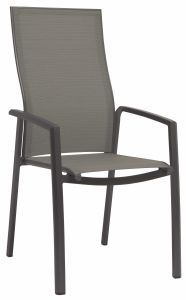 Stacking armchair Kari high backrest aluminum anthracite with cover textilen silver