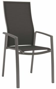 Stacking armchair Kari high backrest aluminum graphite with cover textilen silver grey
