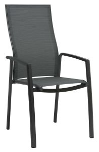 Stacking armchair Kari high backrest aluminum anthracite with cover textilen carbon