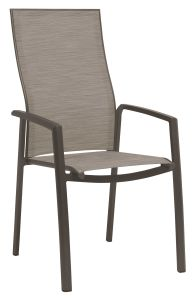 Stacking armchair Kari high backrest aluminum taupe with cover textilen cashmere
