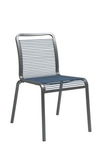 Stacking chair Oskar aluminum graphite with rope jeans